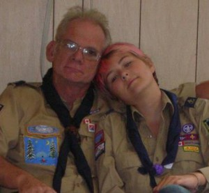 Scouting for me is also about spending time with family. This is me and my Poppa. (yes my hair is pink)