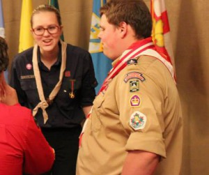 I was MC'ing and award ceremony. I was terrified and freaking out. Someone took this picture. It all worked out in the end. Scouting in a nutshell.